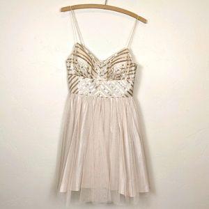 Aidan Aidan Mattox cream sequin tulle dress size 4